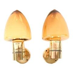 Pair of Hans Agne Jakobsson Brass & Glass Sconces