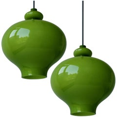 Pair of Hans-Agne Jakobsson for Staff Green Glass Pendant Lights, 1960