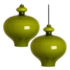 Pair of Hans-Agne Jakobsson for Staff Green Glass Pendant Lights, 1960
