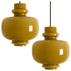 Pair of Hans-Agne Jakobsson for Staff Olive Green Glass Pendant Lights, 1960