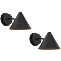 Pair of Hans-Agne Jakobsson 'Mini-Tratten' Outdoor Sconces in Black