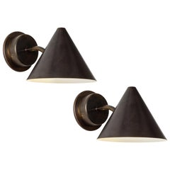 Pair of Hans-Agne Jakobsson 'Mini-Tratten' Patinated Brass Outdoor Sconces