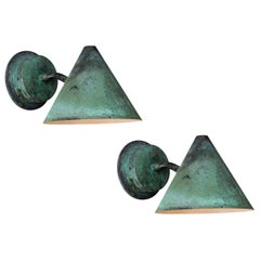 Pair of Hans-Agne Jakobsson 'Mini-Tratten' Patinated Copper Outdoor Sconces
