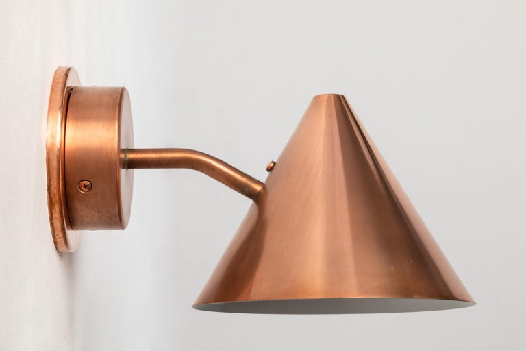Pair of Hans-Agne Jakobsson 'Mini-Tratten' Polished Copper Outdoor Sconces For Sale 3