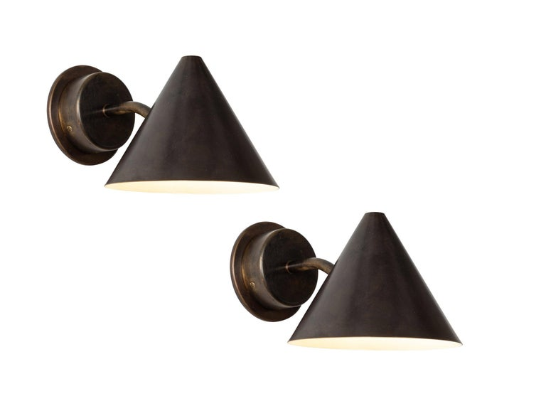 Pair of Hans-Agne Jakobsson 'Mini-Tratten' Polished Copper Outdoor Sconces For Sale 5