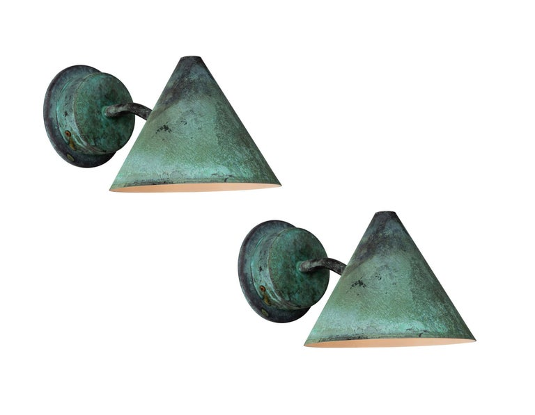 Pair of Hans-Agne Jakobsson 'Mini-Tratten' Polished Copper Outdoor Sconces For Sale 7