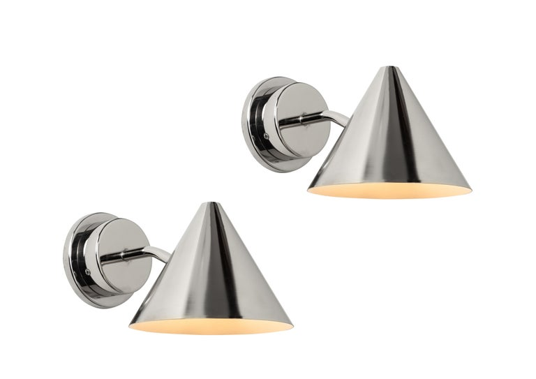 Pair of Hans-Agne Jakobsson 'Mini-Tratten' Polished Copper Outdoor Sconces For Sale 11
