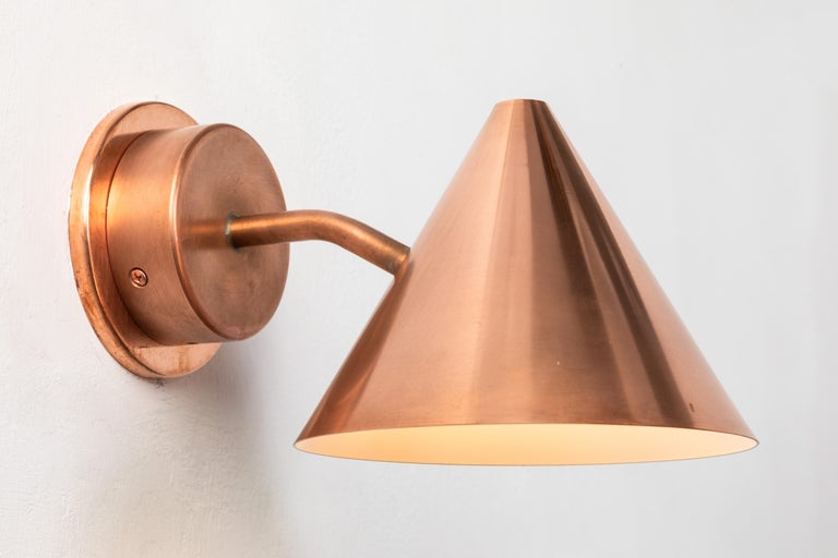 Swedish Pair of Hans-Agne Jakobsson 'Mini-Tratten' Polished Copper Outdoor Sconces For Sale