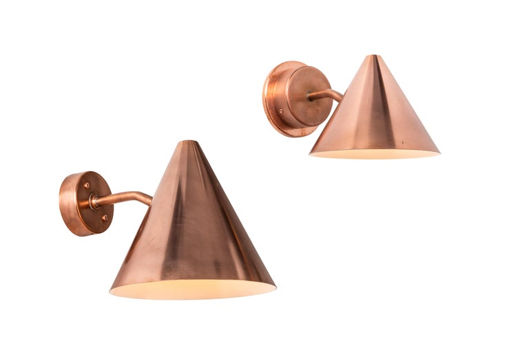 Scandinavian Modern Pair of Hans-Agne Jakobsson 'Mini-Tratten' Polished Copper Outdoor Sconces For Sale