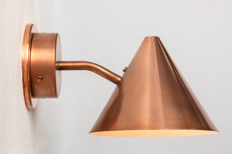 Pair of Hans-Agne Jakobsson 'Mini-Tratten' Polished Copper Outdoor Sconces For Sale 2