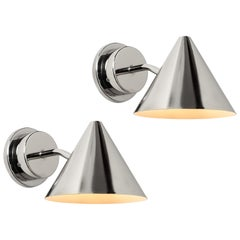 Pair of Hans-Agne Jakobsson 'Mini-Tratten' Polished Nickel Outdoor Sconces