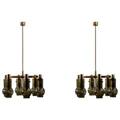 Pair of Hans Agne Jakobsson Six Arms Chandeliers with Green Glass Shades