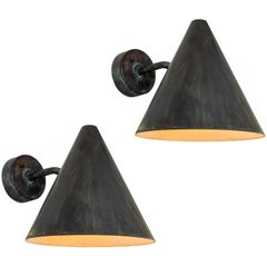 Pair of Hans-Agne Jakobsson 'Tratten' Darkly Patinated Copper Outdoor Sconces
