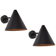 Pair of Hans-Agne Jakobsson 'Tratten' Outdoor Sconces in Black