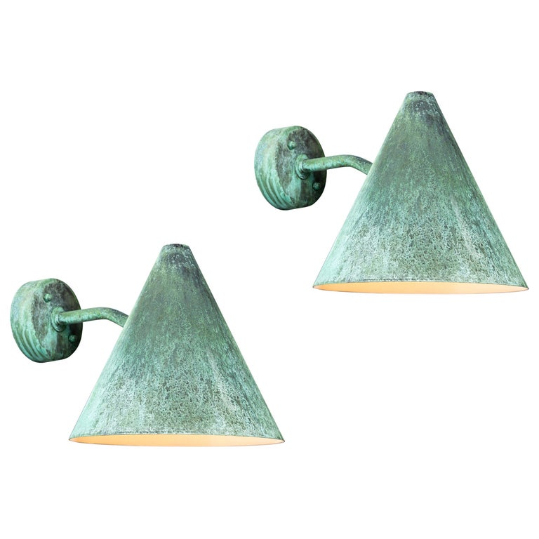 Pair of Hans-Agne Jakobsson 'Tratten' Verdigris Patinated Outdoor Sconces For Sale