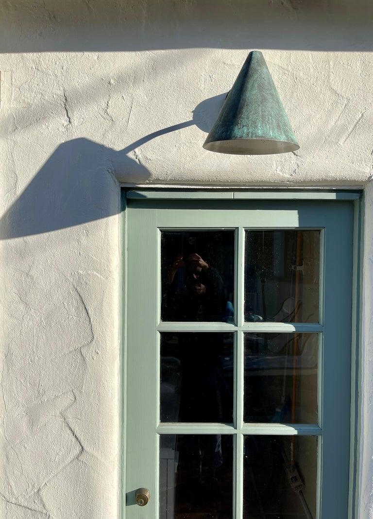 Scandinavian Modern Pair of Hans-Agne Jakobsson 'Tratten' Verdigris Patinated Outdoor Sconces For Sale