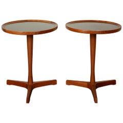 Pair of Hans Andersen Teak Side Tables with Black Laminate Inlay