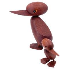 Pair of Hans Bolling Teak Duck Sculptures by Torben Orskov