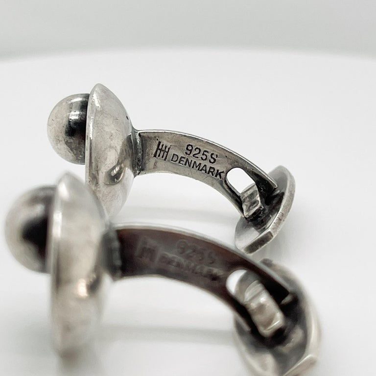 Pair of Hans Hansen Danish Modern Sterling Silver Cufflinks Model No. 610 For Sale 8