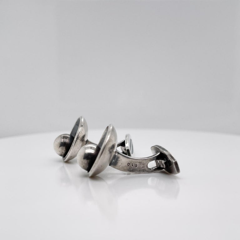 Pair of Hans Hansen Danish Modern Sterling Silver Cufflinks Model No. 610 For Sale 3