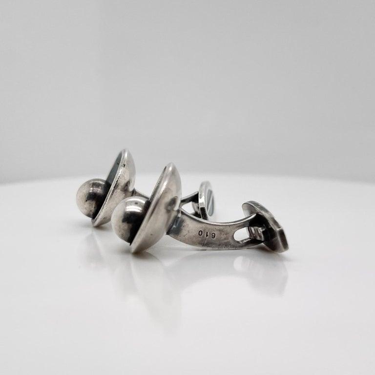 Pair of Hans Hansen Danish Modern Sterling Silver Cufflinks Model No. 610 For Sale 4