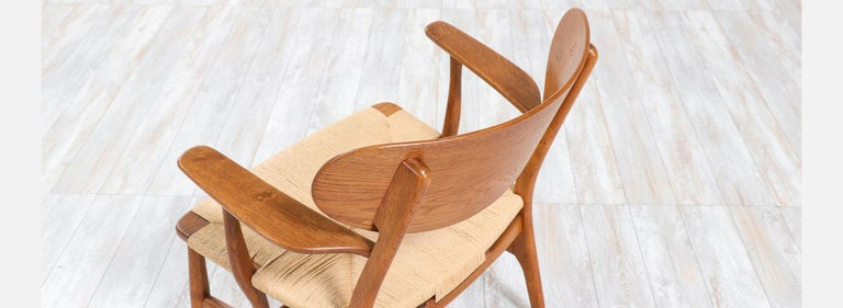 Rush Pair of Hans J. Wegner CH-22 Lounge Chairs for Carl Hansen & Søn For Sale