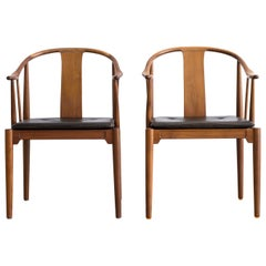Pair of Hans J. Wegner China Chairs in Walnut, 1972