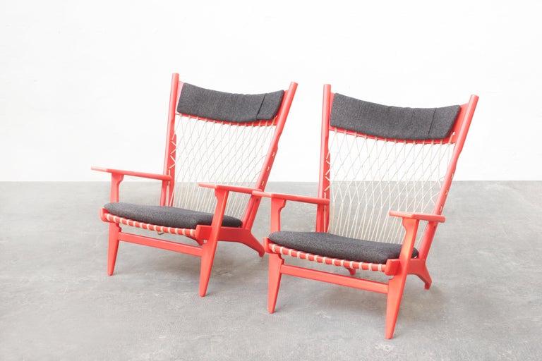 Pair of Hans J. Wegner Flag Halyard Chair JH719 for Johannes Hansen Denmark 1968 For Sale 4