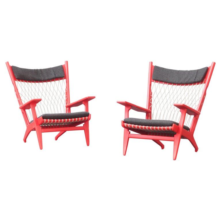 Pair of Hans J. Wegner Flag Halyard Chair JH719 for Johannes Hansen Denmark 1968 For Sale