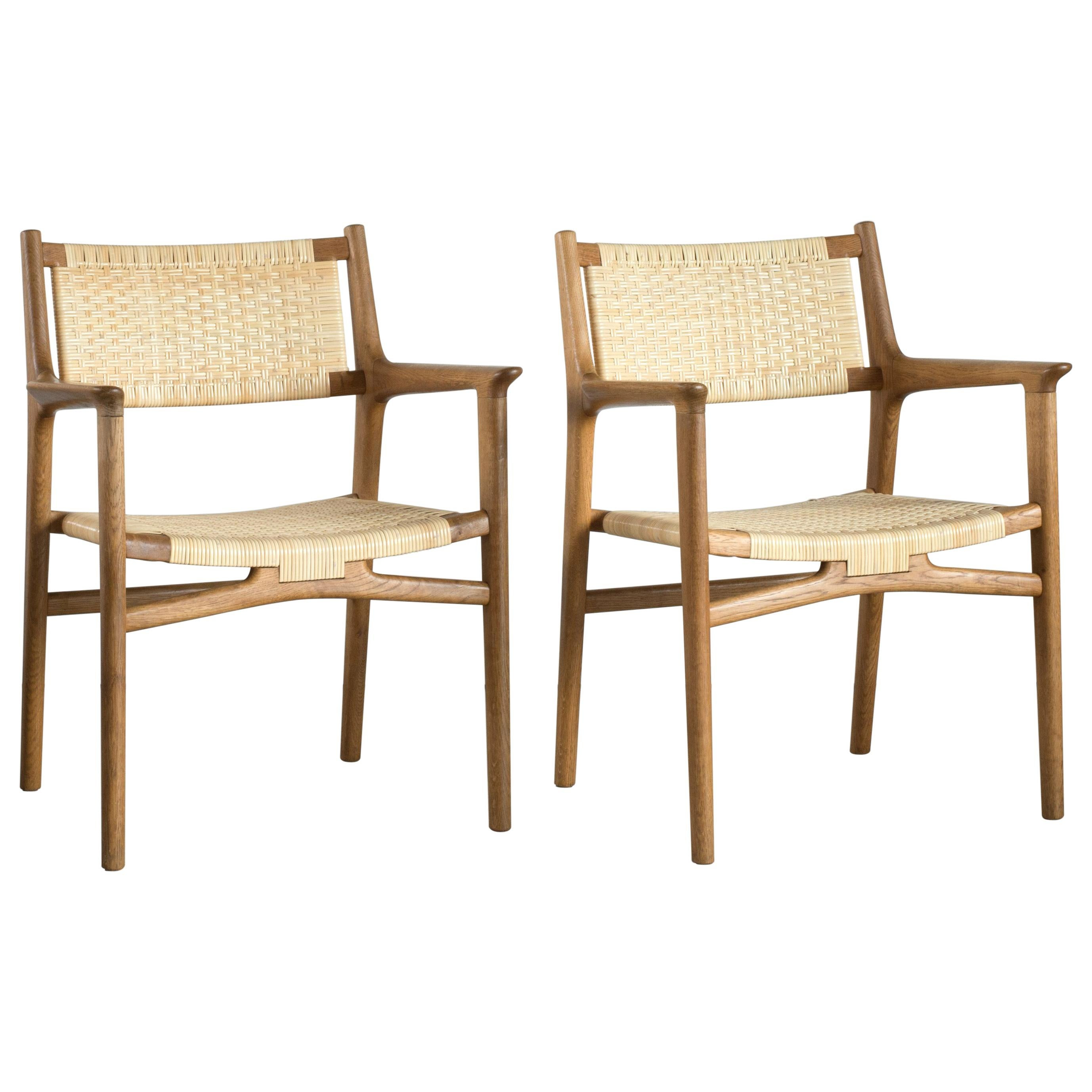 Pair of Hans J. Wegner JH515 Armchairs for Johannes Hansen
