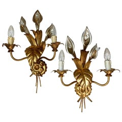 Pair of Hans Kögl Calla Lily Wall Sconce, C 1970's