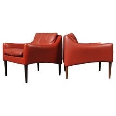 Pair of Hans Olsen Danish Leather Club Armchairs