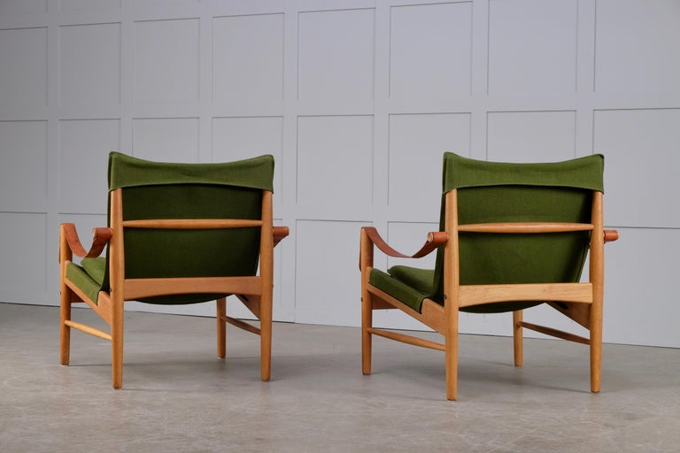 Leather Pair of Hans Olsen Easy Chairs, 1960s For Sale
