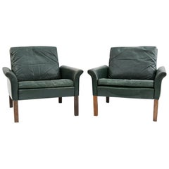 Pair of Hans Olsen for CS Møbler Model 500 Leather Easy Chairs, circa 1950s