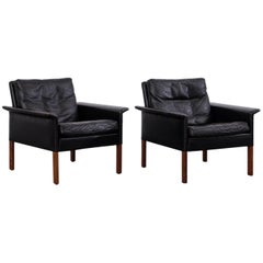Pair of Hans Olsen Model 500 Black Leather Lounge Chairs, CS Møbler, 1960s