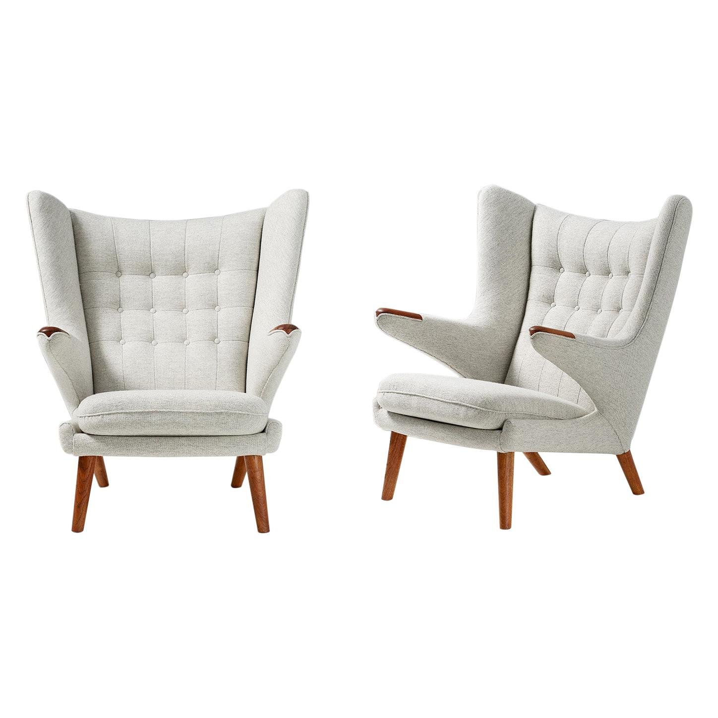 Pair of Hans Wegner AP-19 Teak Papa Bear Armchairs