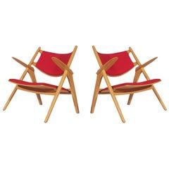 Pair of Hans Wegner Attributed Mid Century Danish Modern Sawbuck Lounge Chairs