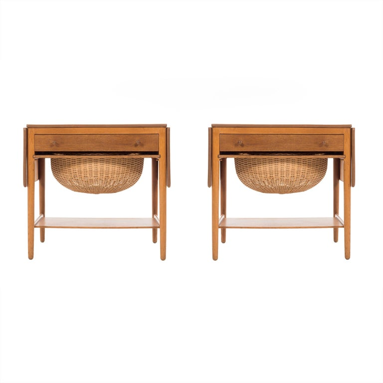 Pair of Hans Wegner Drop-Leaf Sewing Side Tables