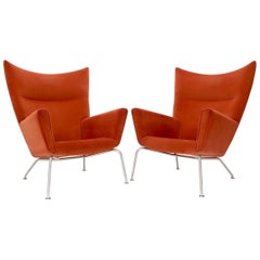 Pair of Hans Wegner for Carl Hansen Wing Chair in Orange Velvet like Fabric OX