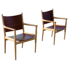 Pair of Hans Wegner JH 513 Armchairs Teak and Oak by Johannes Hansen