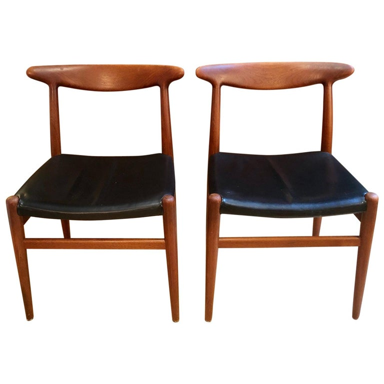 Pair of Hans Wegner Model W2 Chairs for C.M. Madsens For Sale