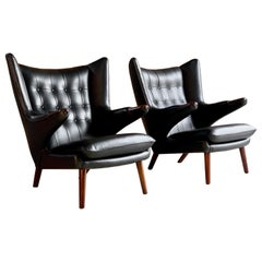Pair of Hans Wegner Papa Bear Lounge Chairs Black Leather & Afromosia Model AP19