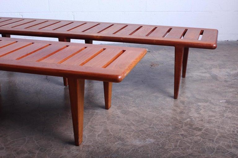Mid-20th Century Pair of Hans Wegner Slatted Benches for Johannes Hansen For Sale