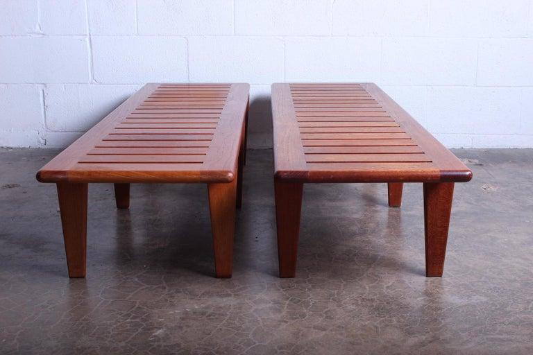 Teak Pair of Hans Wegner Slatted Benches for Johannes Hansen For Sale