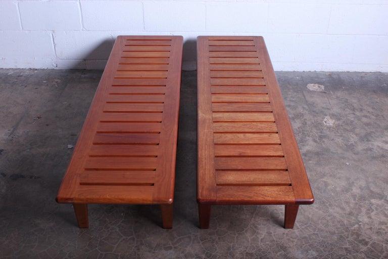 Pair of Hans Wegner Slatted Benches for Johannes Hansen For Sale 1