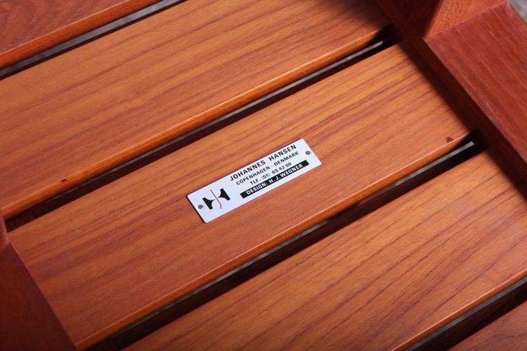 Pair of Hans Wegner Slatted Benches for Johannes Hansen For Sale 2