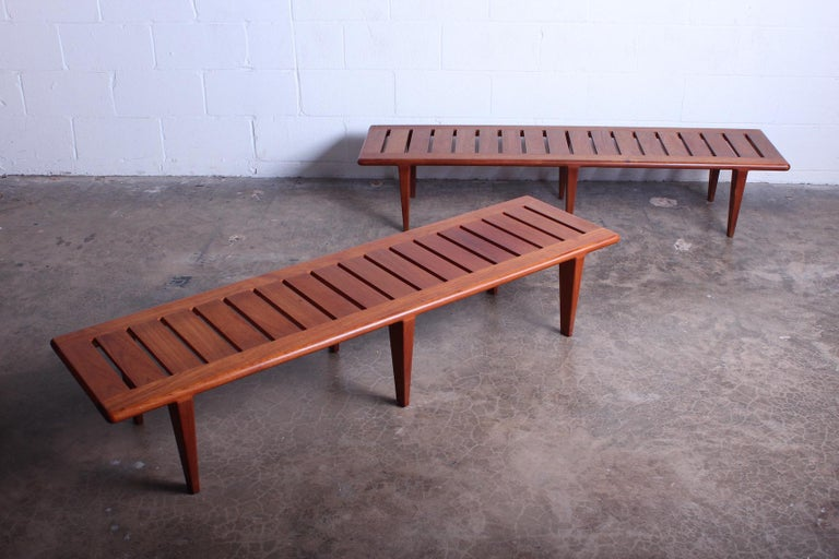 Pair of Hans Wegner Slatted Benches for Johannes Hansen For Sale 3