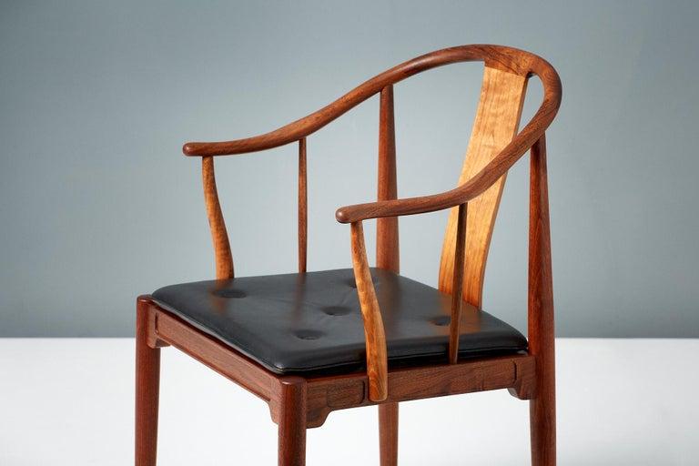 Scandinavian Modern Pair of Hans Wegner Walnut China Chairs For Sale
