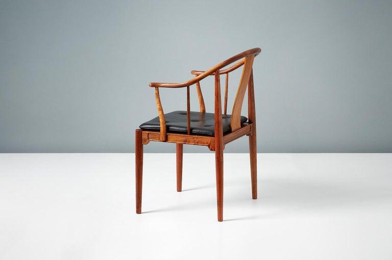 Danish Pair of Hans Wegner Walnut China Chairs For Sale