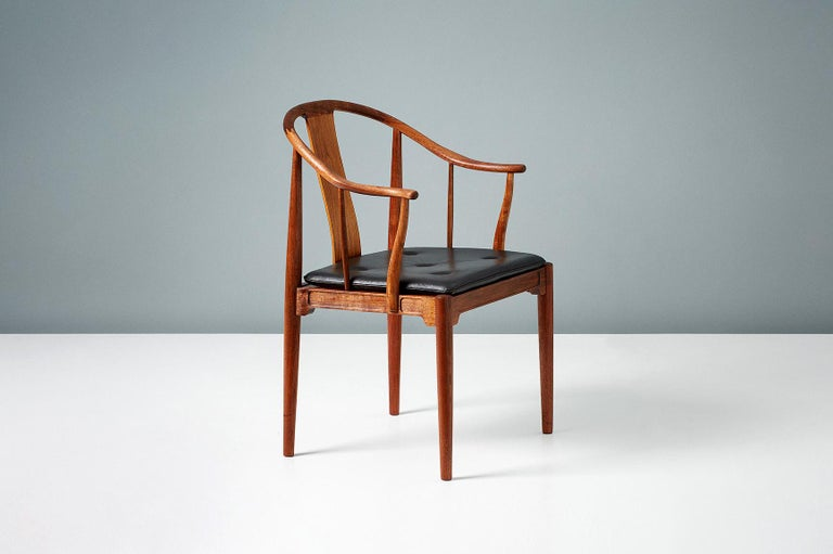 Pair of Hans Wegner Walnut China Chairs For Sale 1